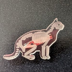 Transparent Cat Skeleton Pin Brooch NWOT